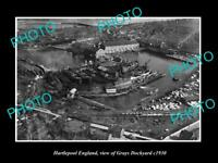 OLD LARGE HISTORIC PHOTO OF HARTLEPOOL ENGLAND, VIEW OF THE GRAYS DOCKYARD c1930