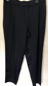 F&F Tesco women Navy Crop Tapered Double Pleats Trouser Size 14uk