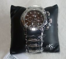 Adee Kaye Men's Quartz Chronograph AK2224-M SILVER /BLACK /BROWN DIAL NEW