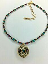 Michal Golan 24k gold Chrysocolla + Crystal Beaded Pendant Necklace Handmade