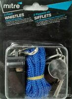 2 Mitre whistles high quality sharp clear sound.Lanyards + Hooks included, New
