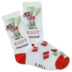 K.Bell Light green Koala Christmas Ladies Red Cotton Blend Crew Socks New