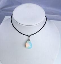 lady Opalite Opal Crystal Quartz Genuine Leather Necklace Teardrop Pendant 45CM