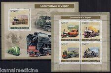 Guinea Bissau MNH MS+SS, Transport, Steam Locomotives, Train, Railways