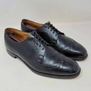 Brooks Brothers Mens Devon Oxfords Shoes Black Wingtip Lace Up Vintage 8.5 D