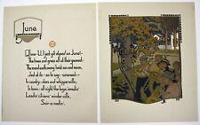GUSTAV BAUMANN Color Woodblock Print Lithograph JUNE Beautiful Condition!