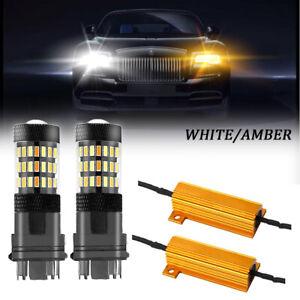 Canbus LED Switchback Light White Amber 3157 Two Bulb Front Turn Signal Upgrade