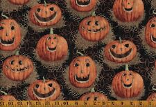 JACK O LANTERN PUMPKIN Straw Hay Halloween Fall 100% Cotton Fabric  - BTY