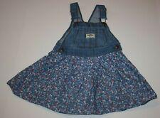 Oshkosh Girls Denim Blue Jean Jumper Dress Overalls Flower Skirt 3t Vestbak