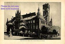Rathaus in Thorn XL Kunstdruck 1920 von Berthold Hellingrath * Elbing Torun +