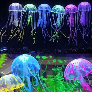 Floating Jelly Fish Glowing Effect Aquarium Tank Ornament Decor E6Y4 Fake I7T7