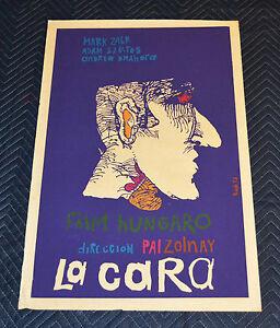 1972 Original Cuban Silkscreen Movie Poster.La cara.Face.Hungary film.Purple
