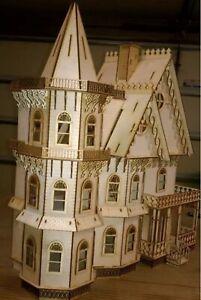 Leon Gothic Victorian Mansion Dollhouse Half inch / 1:24 scale Kit