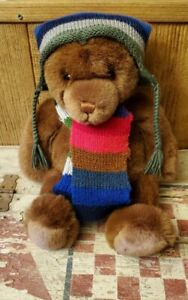 """Gund - Lord & Taylor Brown Teddy Bear 2000 With Hat And Scarf 18"""" - Clean"""