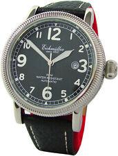 Eichmüller Automatik Flieger Herren Uhr Stahl poliert Leder schwarz Miyota 8215