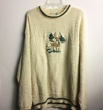 Fieldmaster Crew Neck Pullover Oversized Sweater Embroidered Deer 100% Cotton LT