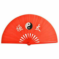 Kung Fu Bamboo Folding Fan Tai Chi Training Dance Martial Arts Performance Red