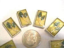 8 SILVER PLATED GOLD GREEN LEAVES DICROIC LOOK 2 HOLE SLIDER SPACER BEAD BAR