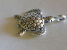 Bali Sterling silver beads~Sea Turtle Charm/Dangle~metal-17.5x13x5mm-loop 3mm