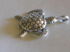Bali Sterling silver beads~Sea Turtle Charm/Dangle~metal-17.5x13x5mm-loop 3mm