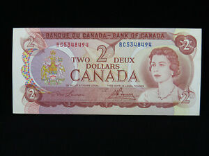 1974 $2 Bank of Canada Banknote RC 5348494 Lawson Bouey AU Grade Bill