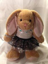 "Build a Bear Workshop Plush Light Brown Floppy Ear Bunny Rabbit 16"" w/Dress Bab"