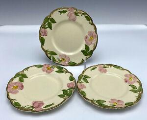 """3 Vintage Franciscan Desert Rose Bread Plates 6 1/4"""" Pink Floral USA"""