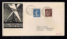 1934 Paris France Cover to USA 20th Anniversary of First Air Raid