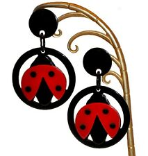 EXQUISITE RESIN MARQUETRY DANGLE LADYBUG CLIP ON EARRINGS --RED BLACK