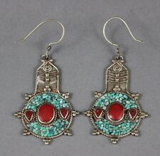 Nepalese Tibet Silver Earrings Inlaid with Turquoise Nuggets & Coral USA SELLER