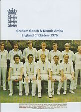 GRAHAM GOOCH & DENNIS AMISS ENGLAND CRICKETERS 1976 HAND SIGNED MAG TEAM GROUP