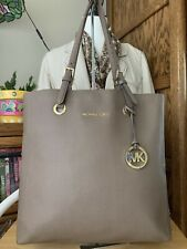 Michael Kors Taupe Saffino Leather XL Tote With Gold Tone Hardware