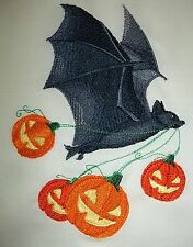 "Embroidered Quilt Block Panel ""Flying Bat With Pumpkins"" Irish Linen Fabric"