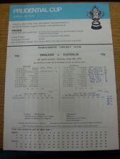 09/06/1979 Cricket Scorecard: England v Australia [At Marylebone Cricket Club] 1