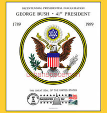 1989 Inauguration of George H W Bush Great Seal of the US Souvenir Card Wash. DC