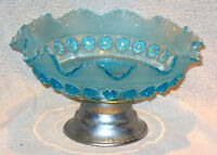 "VINTAGE BLUE GLASS PEDESTAL BOWL ON CHROME STAND PERFECT 4"" TALL 8"" DIAMETER"