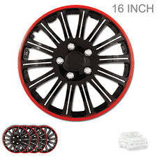 NEW 16 INCH BLACK W RED TRIM WHEEL RIM HUBCAPS COVERS LUG SKIN SET FOR VW 527
