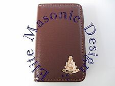 Masonic Past Master Business Card or Dues Card Holder. Gold/coffee.
