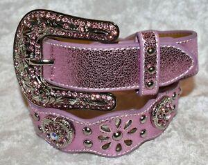 Girls Nocona Scalloped Pink Western Shimmer Belt Size 22 or 24