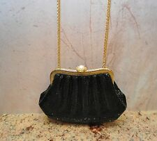 Vintage Whiting & Davis Black Mesh White Pearl Crystals Beaded Evening Bag Purse