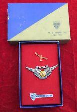 WW 2 US Navy Air crew wing w/ 3 stars pin back Original box N S Meyer STERLING