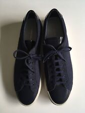 Common Projects Size 46 Achilles Sneaker In Blue Cotton & Leather Made In Italy