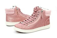 UGG OLIVE GLITTER RIB KNIT COLLAR PINK HIGH TOP SNEAKERS SIZE 7 US