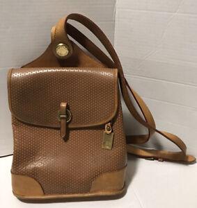 Dooney & Bourke Vintage Backpack Tan Leather w/ Adjustable Straps Made In USA
