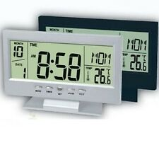 Digital LCD Snooze Desk Alarm voice control back-light clock Date Time Thermomet