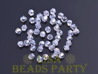 New 100pcs 4mm Bicone Faceted Crystal Glass Loose Spacer Beads Bulk Clear AB