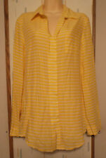 Velvet Heart Womans Yellow Striped Long Roll Up Sleeve Rayon Tunic Blouse   Sz.M