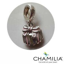 Genuine Chamilia silver 925 pink enamel gift present bracelet charm dangle