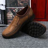 Mens Winter Leather Casual Shoes Breathable Antiskid Loafers Moccasins Work Shoe