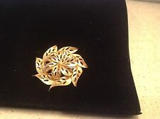 Vintage Costume Pin Brooch Goltone Floral Signed Gerry's Raised Center
